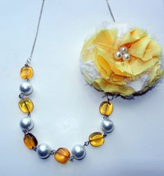 Yellow Flower with Gold and Beaded Pearl's by CloudNineDesignz, $35.00