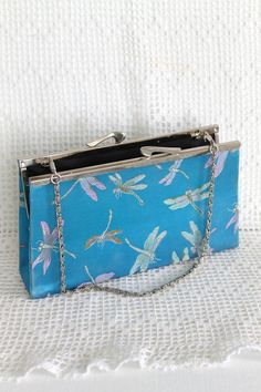 VINTAGE CLUTCH PURSE Teal Dragonfly Satin by colourfulcarmelina, $15.00