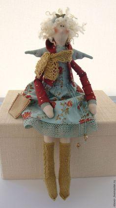 Куклы Тильды ручной работы. Ярмарка Мастеров - ручная работа. Купить Ангелочек с бабочкой. Handmade. Подарок, кукла Тильда, голубой