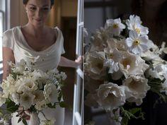Exquisite wedding flowers, romantic bridal bouquets and wild floral arrangements Rose Bridal Bouquet, Bridal Bouquets, Flowers London, Wedding Flowers, Wedding Dresses, Wedding Gallery, White Roses, Floral Arrangements, One Shoulder Wedding Dress