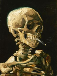 Head of Skeleton with a burning cigarette, Reproduction on metal - 32\ x 24\
