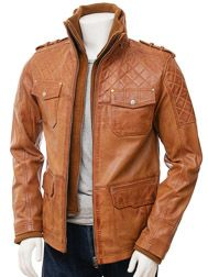 Men's Tan Leather Jacket: Brownston