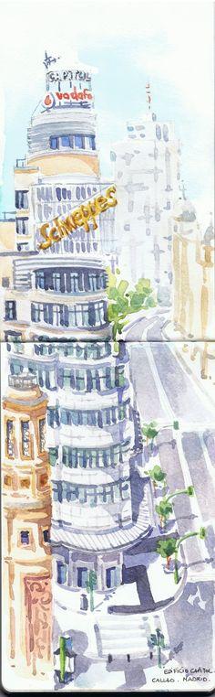 Edificio Capitol / Capitol building (Madrid).Watercolor by Isabel Mariasg on Moleskine sketchbook.