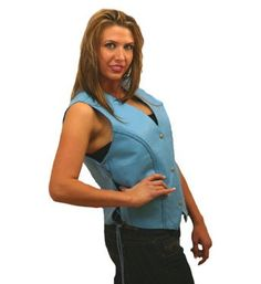 Ladies Blue Leather Vest
