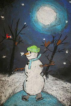 Snowmen At Night Pastel Drawing