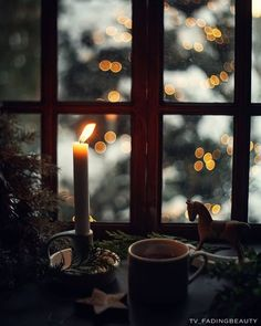 Cosy Winter, Winter White, Winter Christmas, Christmas Time, Candle Jars, Candles, Cottage In The Woods, Window View, Photo B