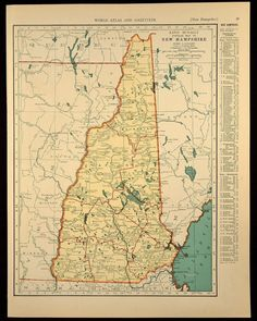 1930s Vintage Map New Hampshire State Original 1935
