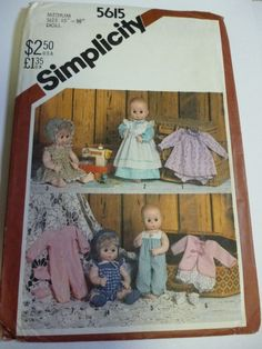 "Vintage Simplicity Sewing Pattern 15"" 16"" 1980s Doll Clothes Wardrobe 5615 Uncut"