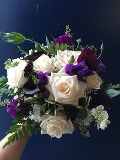 Moody eggplants and purples mixed with cream and greens. Designed by Nicola Adam. Eggplants, Bridal Bouquets, Floral Wreath, Wreaths, Cream, Purple, Rose, Flowers, Design