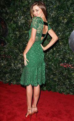 Miranda Kerr in Burberry Prorsum Green Lace Dress #BestDressed