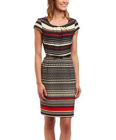 $19.99 Love this Black, Tan & Red Stripe Belted Dress on #zulily! #zulilyfinds