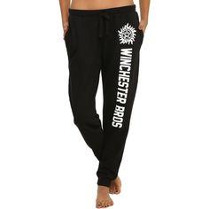 WB Supernatural Winchester Bros Girls Jogger Pants ($25) ❤ liked on Polyvore featuring pants, joggers, pajamas, sweatpants and warner bros.