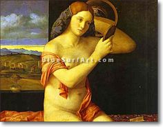 Young Woman Holding a Mirror - : Canvas Art, Oil Painting Reproduction, Art Commission, Pop Art, Canvas Painting Giovanni Bellini, Oil Painting Reproductions, Hand Painting Art, Young Women, Pop Art, Canvas Art, Hand Painted, Artwork, Woman