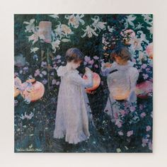 Flowers Girls Paper Lanterns Vintage Painting Kids Jigsaw Puzzle #jigsaw #puzzle #jigsawpuzzle Carnation Lily Lily Rose, Jigsaw Puzzles For Kids, Rose Wall, John Singer Sargent, Paper Lanterns, Painting For Kids, Carnations, Tapestry Wall Hanging, Lovers Art