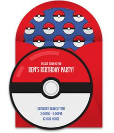 Take a look at this collection of FREE boy birthday invitations. We love this design for a Pokemon-inspired birthday party!