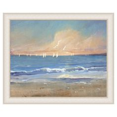 Depicting sailboats at sea, this American-made art print offers coastal appeal for your walls.  Product: PrintConstr...
