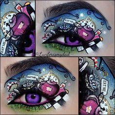 Seriously SPEECHLESS over this mind-blowing Wonderland masterpiece Luciferismydad created using Sugarpill Velocity, Mochi and Afterparty eyeshadows and Illamasqua eyeliners.