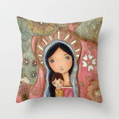 New! Madonna of the Flowers by Flor Larios Throw Pillow by Flor Larios Art - $20.00