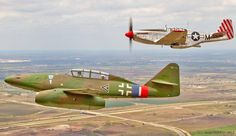"""flying-by-instruments: """" Messerschmitt Me 262 B-1a and North American Mustang P-51-B """" My Blogs: Beautiful Warbirds Full Afterburner The Test Pilots P-38 Lightning Nasa History Science Fiction World Fantasy Literature & Art"""