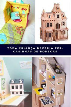 Conheça diversos tipos de casinhas de bonecas e veja as possibilidades de DIY com tecido ou papelão. Conheça a loja mais linda de casinhas de bonecas.