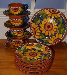 sunflower dinnerware   15 Pcs Vtg Sunflower Design Hand Painted Dinnerware Cups Saucers .  sc 1 st  Pinterest & Mexican Chili Bowl with Sunflowers Hand Painted Pottery   Sunflower ...