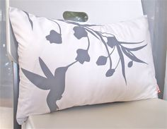 Grey Print on Off White Cotton Hummingbird with Eucalyptus by joom, $28.00