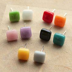 Square Glass Stud Earrings - earrings