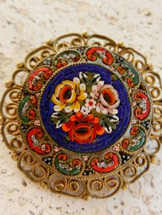 Vintage Italian 1950  fabulous micro mosaic brooch by RAKcreations, $54.00