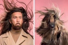 They say pets and their owners become more and more alike with time. British photographer Gerrard Gethings created a photo series highlighting the resemblance between owners and their pets and you'll be amazed by the similarities! Side By Side Photo, Brave, Such Und Find, Culture Art, Afghan Hound, Photographs Of People, Cat Photography, Photo Series, Dog Portraits