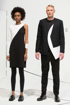 The concept of duality — hard/soft, shiny/matte, black/white, masculine/feminine — showed best in bell-shaped capelets and dresses over cropped trousers.
