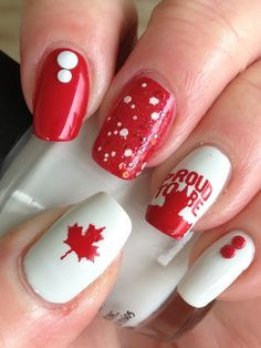 Happy Canada Day to my fellow Canadians! These are the nails I'm wearing today; I did these on the weekend and they are still going stron. Red And White Nails, Red Nails, Hair And Nails, Seasonal Nails, Holiday Nails, Orchid Nails, Happy Canada Day, Nagellack Trends, Nagel Gel