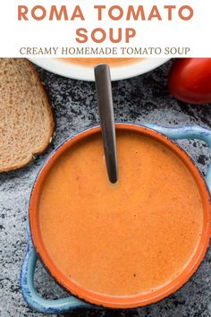 Creamy Tomato Soup using fresh roma plum tomatoes! This easy homemade recipe is perfect for when you are picking fresh tomatoes from the garden! You will never buy canned tomato soup again! Fresh Tomato Soup, Canned Tomato Soup, Plum Tomatoes, Roma Tomatoes, Roma Tomato Recipes, Freezing Fresh Herbs, Dinner Dishes, Dinner Recipes, Easy Homemade Recipes