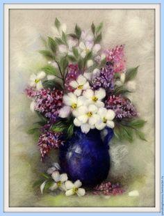 Купить Весеннее цветение Картина из шерсти - тёмно-синий, картина, живопись шерстью, шерстяная живопись