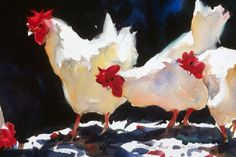 """French Hens"""" - by Pat Weaver ~Watercolor Animals Watercolor, Art Watercolor, Chicken Painting, Chicken Art, Rooster Art, Illustration, Hanging Art, Hens, Animal Paintings"""