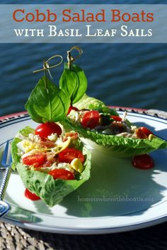 Cobb Salad Boats with Basil Leaf Sails, so pretty! Cobb Salad Ingredients, Seven Layer Salad, Boat Food, Buttermilk Dressing, Salad Recipes, Healthy Recipes, Yummy Recipes, Sandwiches, Soup And Salad