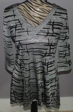 Joseph Ribkoff Shirt Size 12 Silver Black Shirt Sparkle 3/4 Sleeves Animal Print #JosephRibkoff #longblouse