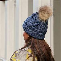 Blue Cable Knit Pom-Pom Hat
