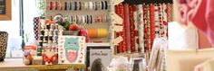 A great selection of modern fabrics, yarn, and don't miss the chest full of vintage buttons!