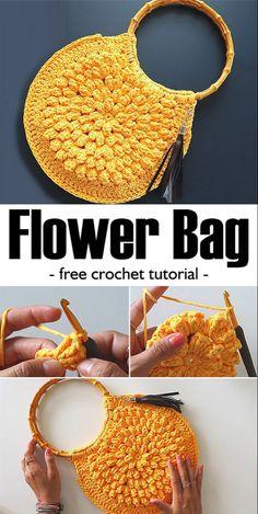 Crochet Flower Bag / Romashka Bag Latest Crochet Patterns With Video Tutorials - Diy And Crafts Crochet Diy, Crochet Handbags, Crochet Purses, Crochet Slippers, Knit Or Crochet, Crochet Crafts, Crochet Bags, Crochet Ideas, Diy Crafts