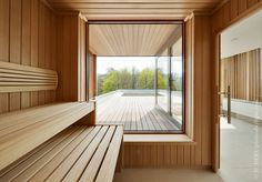Image 9 of 14 from gallery of Hôtel du Val d'Amblève / Artau Architecture. Courtesy of Artau Architecture Spa Interior, Home Interior Design, Interior Architecture, Sauna Steam Room, Sauna Room, Saunas, Porches, Sauna House, Sauna Design