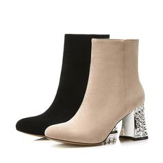 New Design Sexy Ladies Block High Heel Ankle Short Boots, Winter Walking Casual Daily Wear boots Shoes