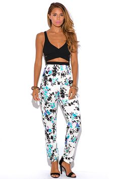 Missy K's End Of The Year Online Shopping Spree Via @1015Store Follow Me At Pinterest/MissyKsCloset Cute cheap ivory white floral print criss cross cut out 2fer harem summer party jumpsuit