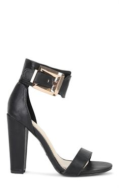 Deb Shops Single Sole Block High Heel with Gold Buckles $36.50
