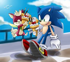 Sonic and Chip by Unichrome-uni on DeviantArt Sonic And Amy, Sonic Satam, Sonic Funny, How To Draw Sonic, Sonic Unleashed, Sonic Heroes, Sonic Fan Art, Summer Days, Kawaii Anime