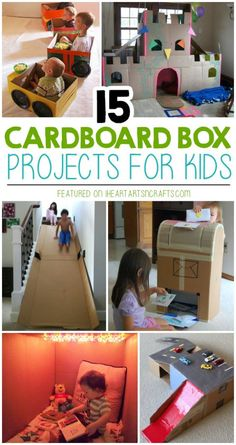 15 Super Fun Cardboard Box Projects For Kids - I Heart Arts n Crafts - - My kids LOVE creating things with old cardboard boxes! These 15 Super Fun Cardboard Box Projects For Kids are genius.how fun does that slide look! Cardboard Box Houses, Cardboard Box Crafts, Cardboard Playhouse, Cardboard Toys, Cardboard Box Ideas For Kids, Cardboard Furniture, Cardboard Castle, Cardboard Kids House, Kids Craft Box