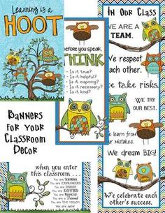 OWL - Classroom Decor, binder covers, banners, posters, cl