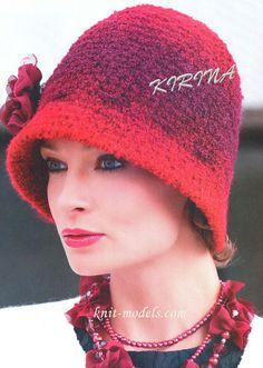 Дамская шляпка-клош (вязание крючком)