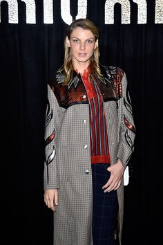 Model Angela Lindvall attends the Miu Miu show as part of the Paris Fashion Week Womenswear Spring/Summer 2016 on October 7 2015 in Paris France