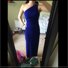Ralph Lauren Blue Ball Dress (Prom Homecoming) embellishment on the top, one shoulder, slit along the side, cinching on the side, size 2 and is stretchy, worn once for senior ball and got so many compliments!!, royal blue Ralph Lauren Dresses Prom