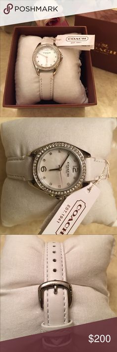 NEW AUTHENTIC COACH WATCH New authentic Coach watch..white leather wristband..jewel embellished around face..mother of pearl face..brand new with tags and box..refer to pics.. Coach Accessories Watches